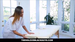 Black Step Dad Fucks Teen Daughter During Massage
