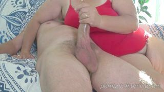 Plus Sized Woman Wife Gets Me Stiff With A Wank , Then Rides Me Until We Both Sperm .