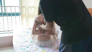 Chinese White Underwear And Pantyhose Rope Discipline Bondage Act On Bed